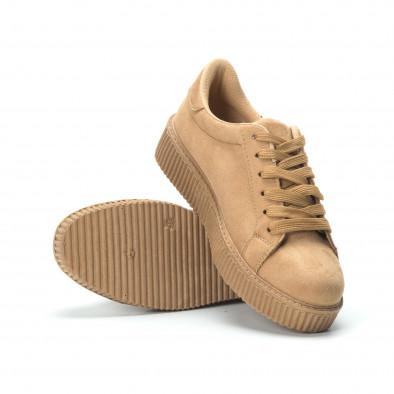 Γυναικεία camel sneakers από οικολογικό σουέτ it250119-56 5