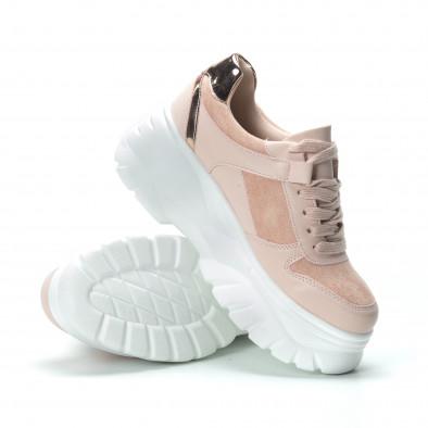 Chunky γυναικεία ροζ sneakers με πλατφόρμα it250119-50 5