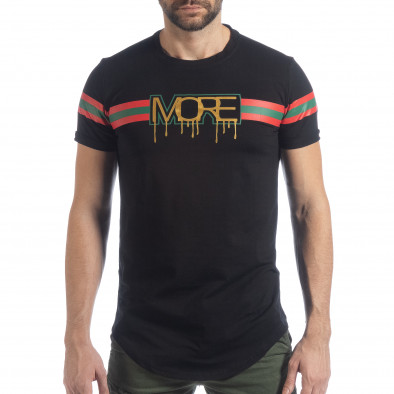 Ανδρική μαύρη κοντομάνικη μπλούζα More Life Stripe it040219-118 3