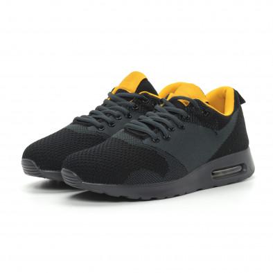 Ανδρικά μαύρα αθλητικά παπούτσια Kiss με αερόσολα it150319-9 3