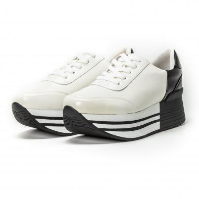 Γυναικεία ασπρόμαυρα sneakers με πλατφόρμα it150818-72 3