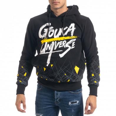 Ανδρικό μαύρο φούτερ hoodie με πριντ it071119-64 3