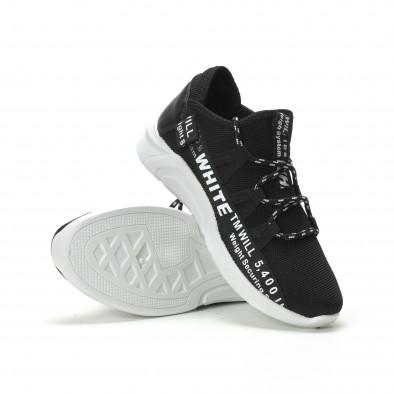 Ανδρικά μαύρα αθλητικά παπούτσια με επιγραφές it250119-32 4