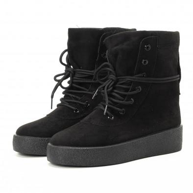 Basic γυναικεία ψηλά μαύρα sneakers   it221018-46 3