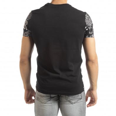 Ανδρική μαύρη κοντομάνικη μπλούζα με σύμβολα it150419-72 3