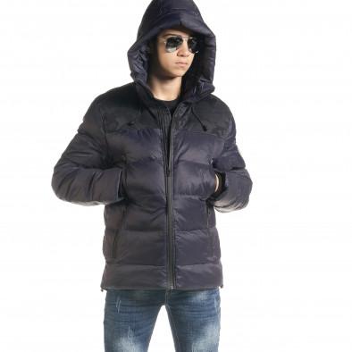 Ανδρικό μπλέ χειμωνιάτικο μπουφάν με κουκούλα it091219-12 3