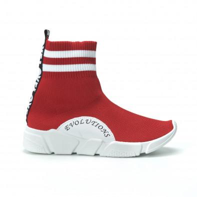 Γυναικεία κόκκινα ψηλά sneakers καλτσάκι it250119-58 3