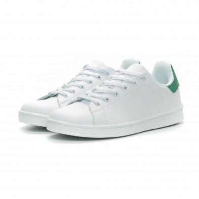 Ανδρικά Basic λευκά sneakers με πράσινη λεπτομέρεια it150319-11 3