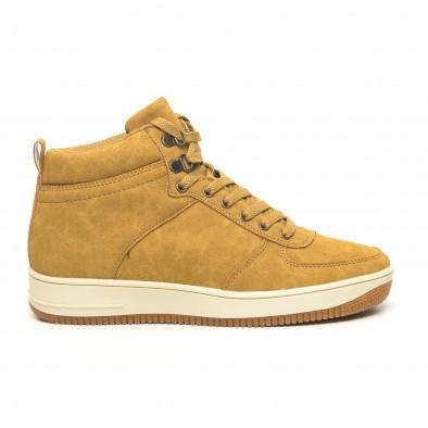 Ανδρικά ψηλά camel sneakers τύπου μποτάκια it251019-19 3