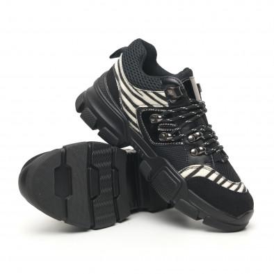 Γυναικεία αθλητικά παπουτσια τύπου Hiker σε μαύρο και ζέβρα it281019-28 5