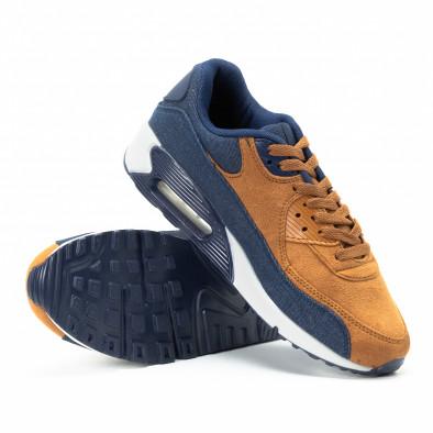 Ανδρικά μπλε και camel αθλητικά παπούτσια Air από συνδυασμό υφασμάτων it140918-31 4