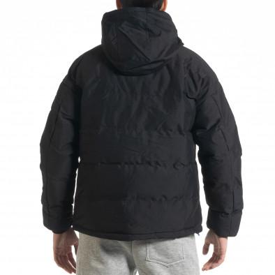 Ανδρικό μαύρο καπιτονέ  χειμωνιάτικο μπουφάν με κουκούλα it091219-14 4