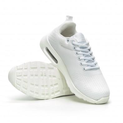 Ανδρικά λευκά πλεκτά αθλητικά παπούτσια με αερόσολα it100519-6 4