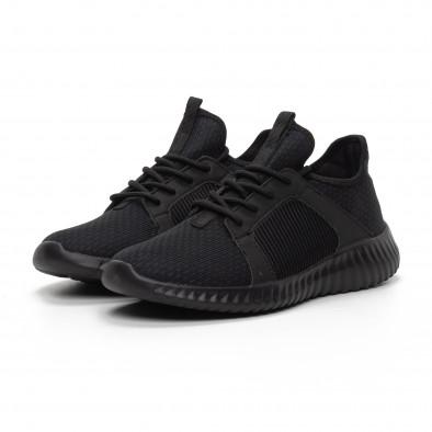 Ανδρικά μαύρα αθλητικά παπούτσια ελαφρύ μοντέλο it240419-16 3