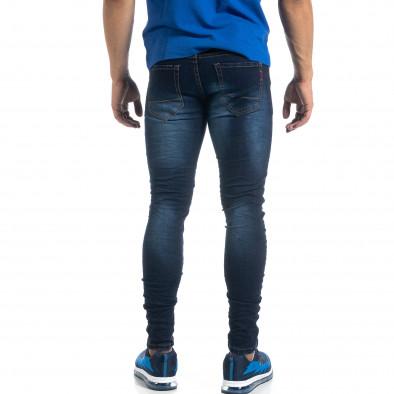 Ανδρικό τσαλακωμένο τζιν σε χρώμα indigo Skinny fit it041019-27 3