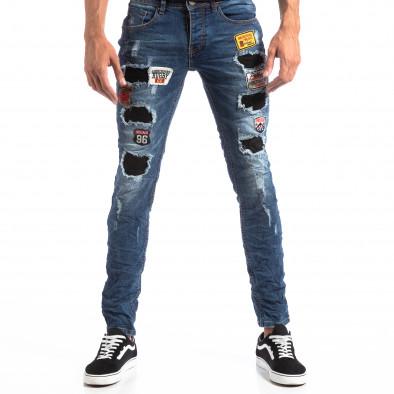 Ανδρικό μπλε τζιν Slim Jeans με διακοσμητικά μπαλώματα it260918-1 2