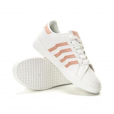 Γυναικεία λευκά sneakers με ροζ λεπτομέρειες it190219-14 4