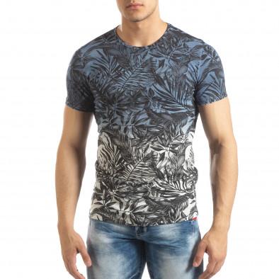 Ανδρική μπλε κοντομάνικη μπλούζα Leaves μοτίβο it150419-106 2