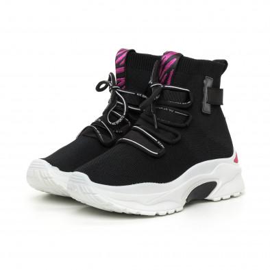 Γυναικεία μαύρα αθλητικά παπούτσια με ροζ λεπτομέρεια it130819-42 3