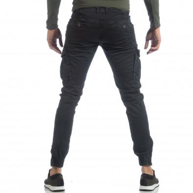 Ανδρικό μαύρο παντελόνι cargo με φερμουάρ it040219-34 4