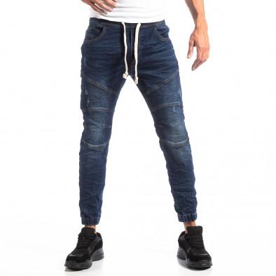 Ανδρικό γαλάζιο τζιν Jogger Biker style it250918-22 4