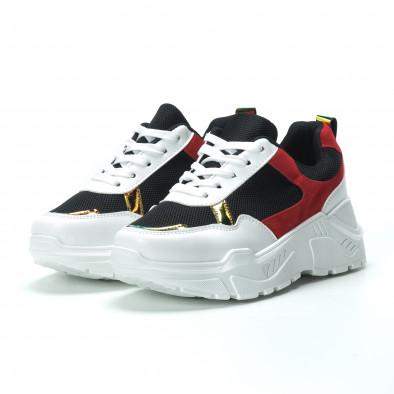 Γυναικεία κόκκινα- μαύρα sneakers με πλατφόρμα it250119-39 3