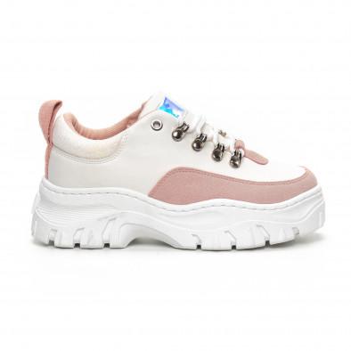 Γυναικεία Chunky αθλητικά παπούτσια σε λευκό και ροζ it240419-43 2