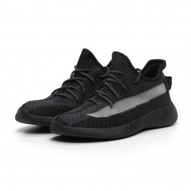 Ανδρικά διχτυωτά γκρι-μαύρα αθλητικά παπούτσια ελαφρύ μοντέλο it260919-22 3