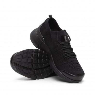 Ανδρικά μαύρα αθλητικά παπούτσια καλτσάκι ελαφρύ μοντέλο it240419-23 4