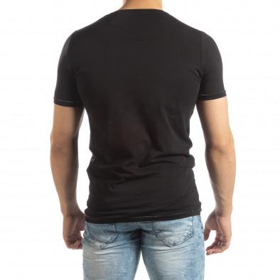 Ανδρική μαύρη κοντομάνικη μπλούζα με πριντ it150419-77 3