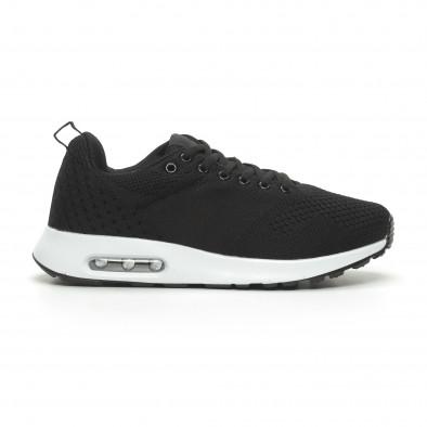 Ανδρικά μαύρα πλεκτά αθλητικά παπούτσια με αερόσολα it100519-7 2