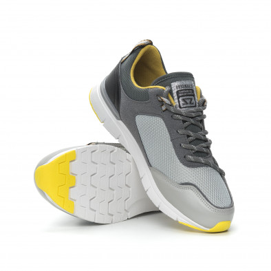 Ανδρικά γκρι αθλητικά παπούτσια με κίτρινες λεπτομέρειες it150319-28 5