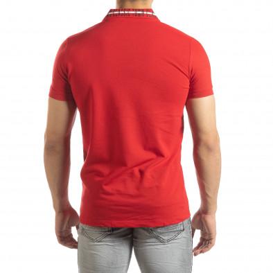 Ανδρική κόκκινη πόλο με πριντ στο γιακά it150419-98 3
