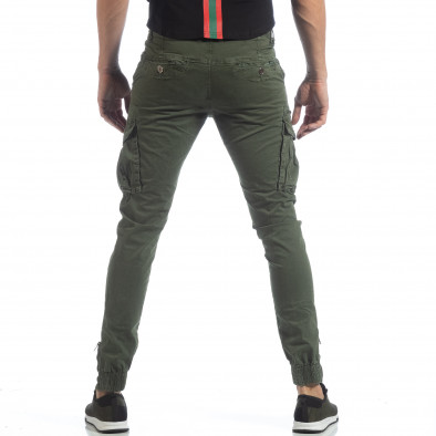 Ανδρικό πράσινο παντελόνι cargo με φερμουάρ it040219-35 4