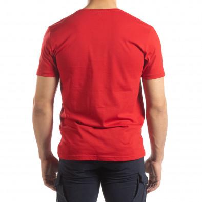 Ανδρική κόκκινη κοντομάνικη μπλούζα με πριντ it150419-91 3
