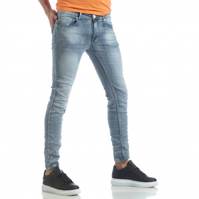 Ανδρικό γαλάζιο Washed Slim Jeans τζιν it040219-13 2