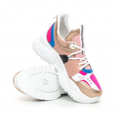 Γυναικεία Chunky αθλητικά παπούτσια ροζ και μπλέ it130819-65 4