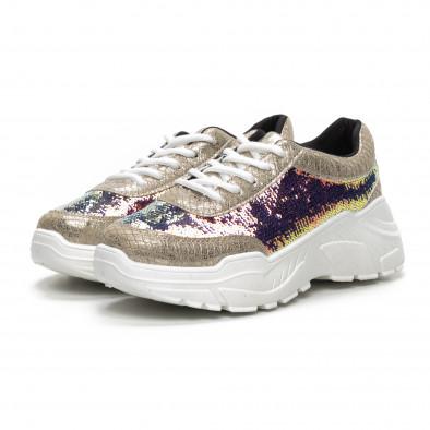 Γυναικεία μπεζ Chunky αθλητικά παπούτσια με παγιέτες it240419-59 3