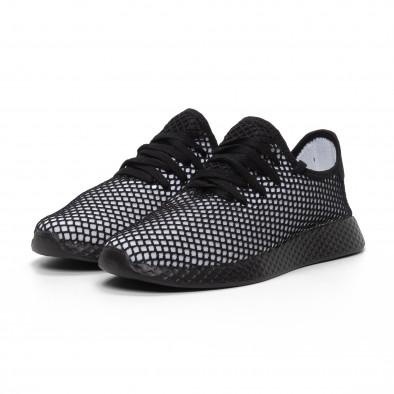 Ανδρικά ασπρόμαυρα αθλητικά παπούτσια Mesh ελαφρύ μοντέλο it240419-5 3