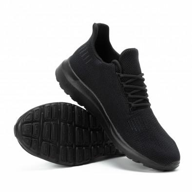 Ανδρικά μαύρα αθλητικά παπούτσια All black ελαφρύ μοντέλο it140918-16 4
