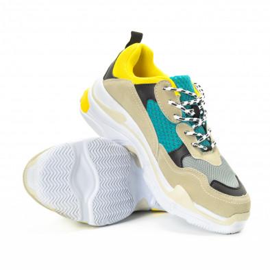Ανδρικά αθλητικά παπούτσια σε κίτρινο και μπεζ με χοντρή σόλα it221018-40 4