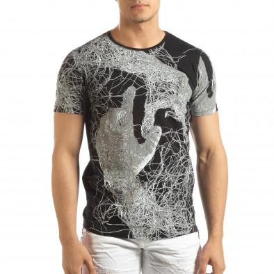 Ανδρική μαύρη κοντομάνικη μπλούζα με πριντ it150419-75 2