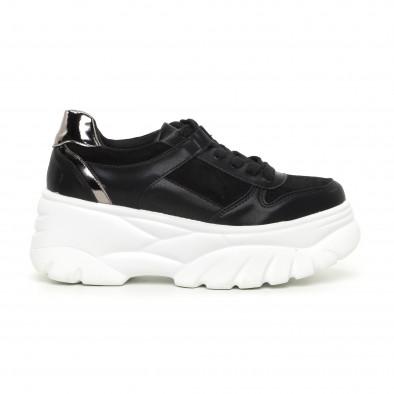 Γυναικεία Chunky αθλητικά παπούτσια μαύρα με πλατφόρμα it130819-36 2