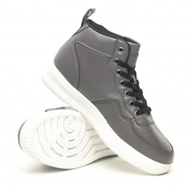 Ανδρικά γκρί ψηλά sneakers με Shagreen design it251019-22 4
