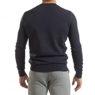 Ανδρική σκούρα μπλε βαμβακερή μπλούζα Basic it150419-47 4