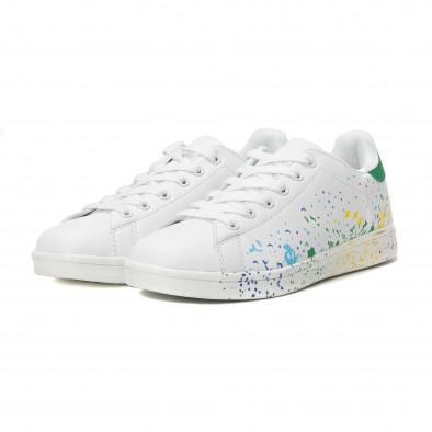 Γυναικεία λευκά sneakers με χρωματιστές πιτσιλιές it150818-38 3