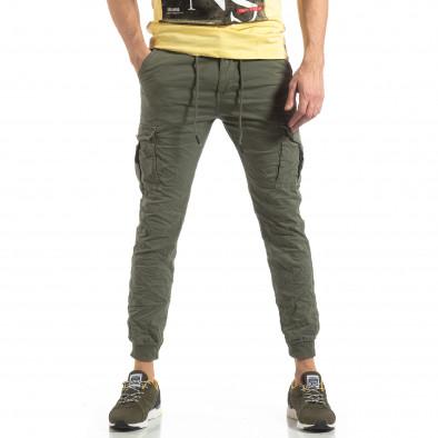 Ανδρικό πράσινο παντελόνι cargo με κορδόνια it210319-20 3
