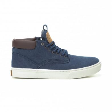 Ανδρικά μπλε υφασμάτινα sneakers με δερμάτινη λεπτομέρεια it150818-19 2