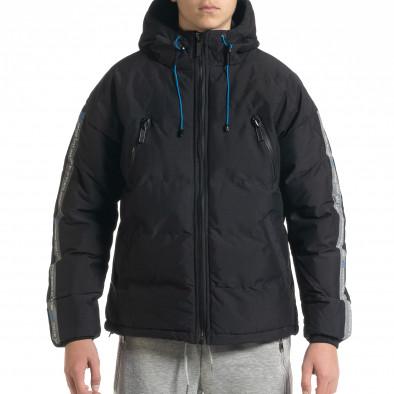 Ανδρικό μαύρο καπιτονέ  χειμωνιάτικο μπουφάν με κουκούλα it091219-14 2