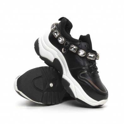 Γυναικεία μαύρα αθλητικά παπούτσια με στρασάκια it260919-62 5